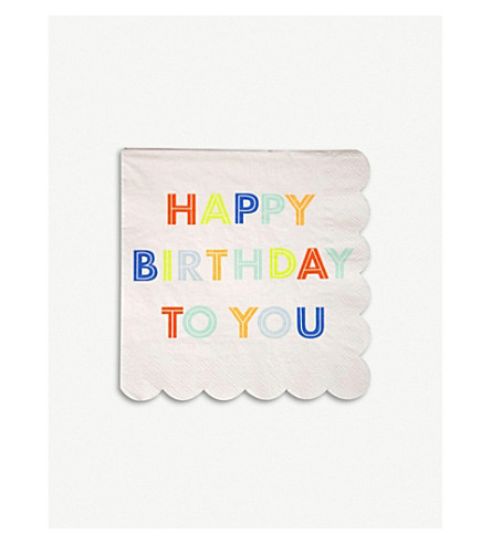 MERI MERI Large Happy Birthday napkins pack of 20
