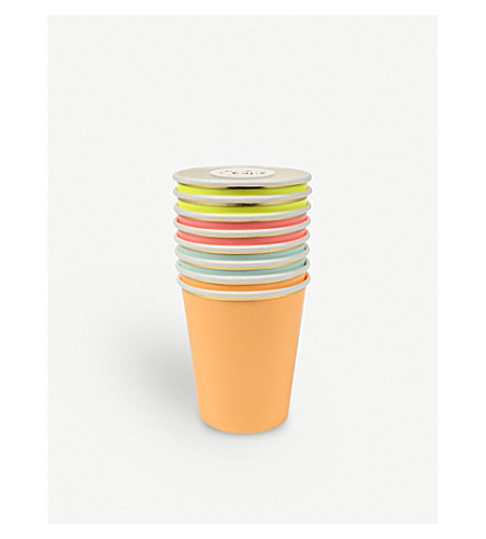 MERI MERI Neon paper cups pack of eight