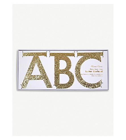 MERI MERI Gold glittered letter garland kit 3.65m