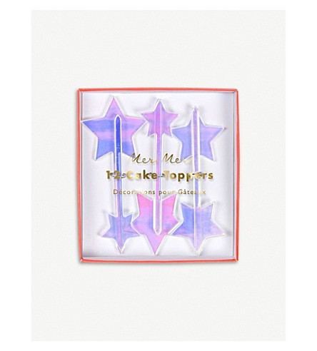 MERI MERI Iridescent acrylic star cake toppers pack of 12