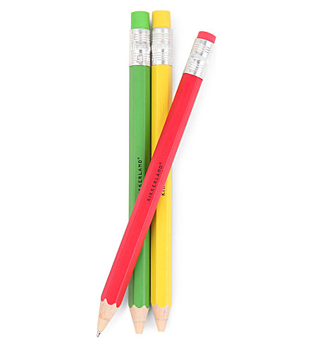 KIKKERLAND Rainbow wooden ballpoint pens Set of three