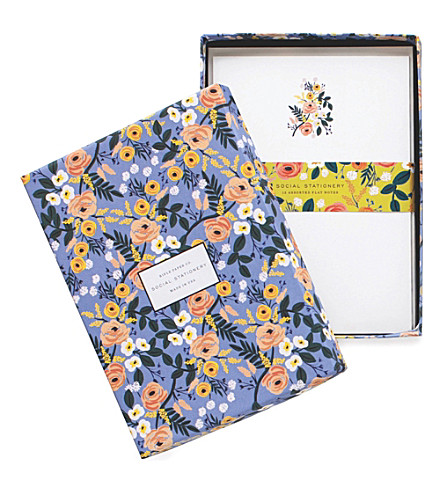 RIFLE PAPER Violet Floral stationery set of 12