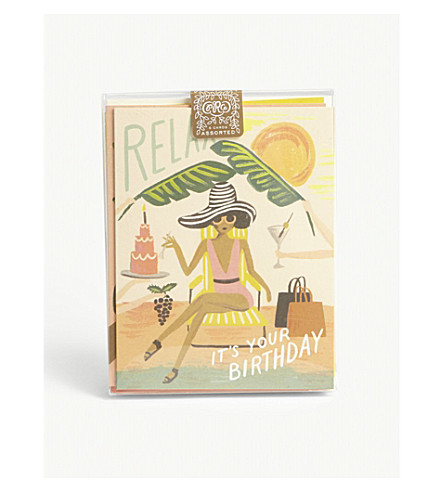 RIFLE PAPER Happy assorted cards pack of eight