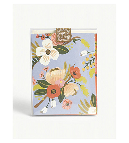 RIFLE PAPER Lively Floral assorted cards pack of eight