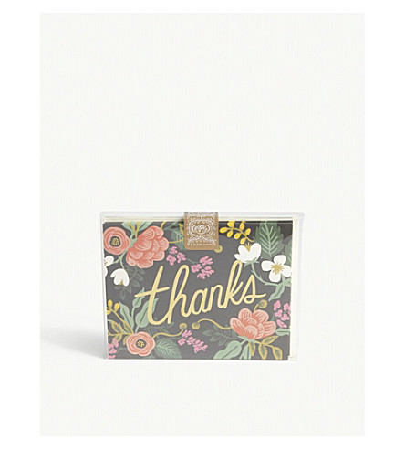 RIFLE PAPER Birch Floral 'Thanks' cards pack of eight