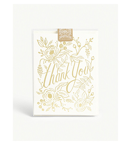 RIFLE PAPER Marion 'Thank You' cards pack of eight
