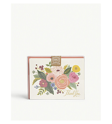 RIFLE PAPER Juliet Rose thank you card set of eight
