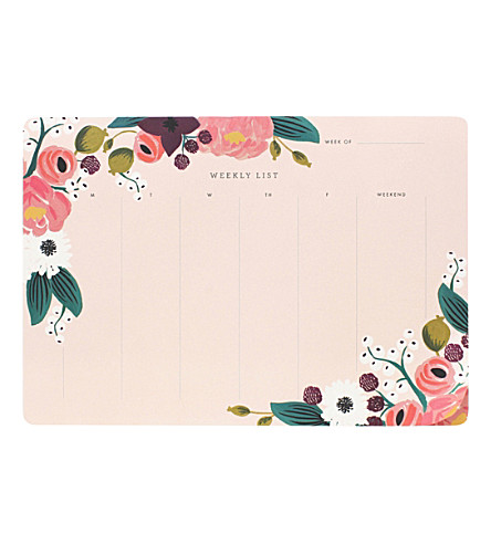 RIFLE PAPER Floral weekly planner desk pad