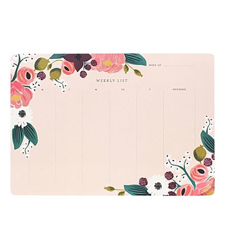 RIFLE PAPER 花卉每周计划办公桌垫