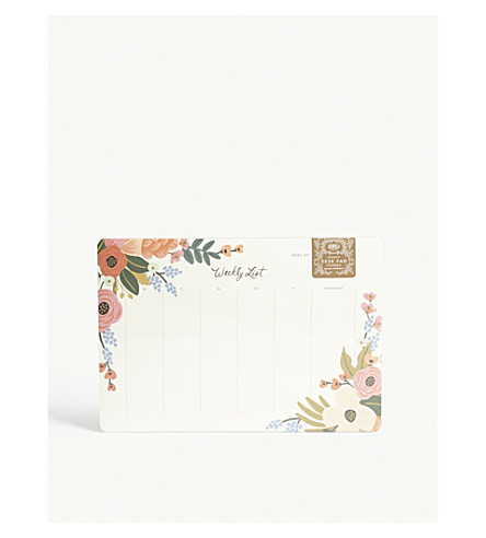 RIFLE PAPER Floral weekly desk planner 25x17cm