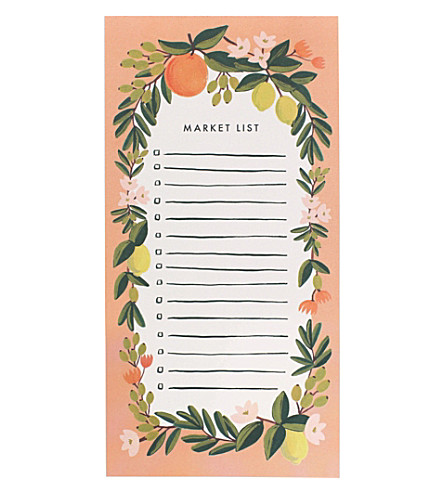 RIFLE PAPER Citrus Floral market shopping pad