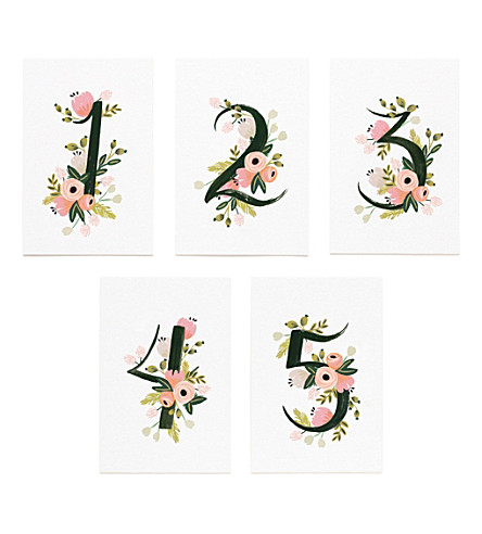 RIFLE PAPER Floral-print table numbers 1-5
