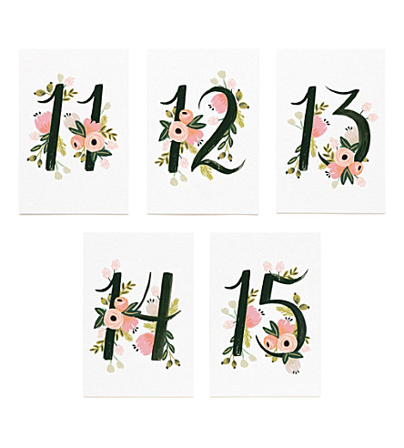 RIFLE PAPER Floral-print table numbers 11-15