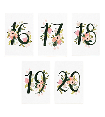 RIFLE PAPER Floral-print table numbers 16-20