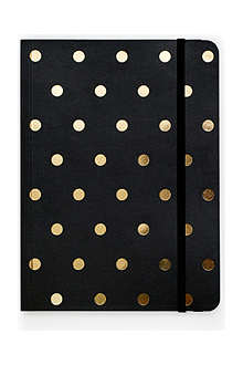 SUGAR PAPER Black and gold polka dot journal