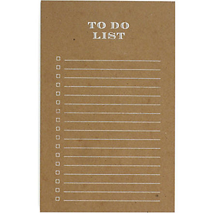 SUGAR PAPER Kraft to do list notepad