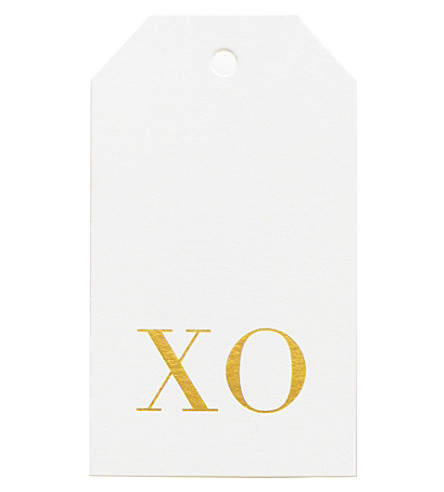 SUGAR PAPER Xo gold foil gift tag