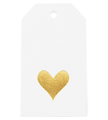 SUGAR PAPER Heart gold foil gift tag