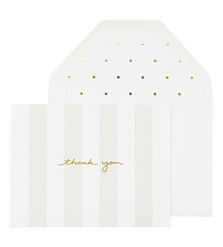 SUGAR PAPER Grey stripe thank you note set