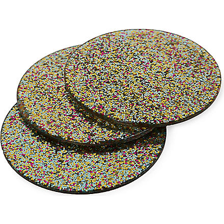 KATE SPADE Set of four Glitter coasters