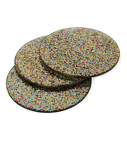 KATE SPADE NEW YORK Set of four Glitter coasters
