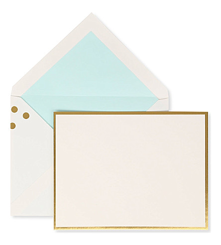 KATE SPADE NEW YORK Set of 10 gold-foil correspondence cards