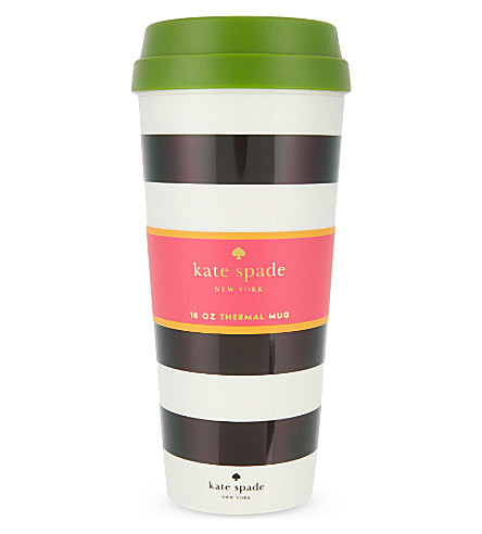 KATE SPADE NEW YORK Monochrome-striped thermal mug