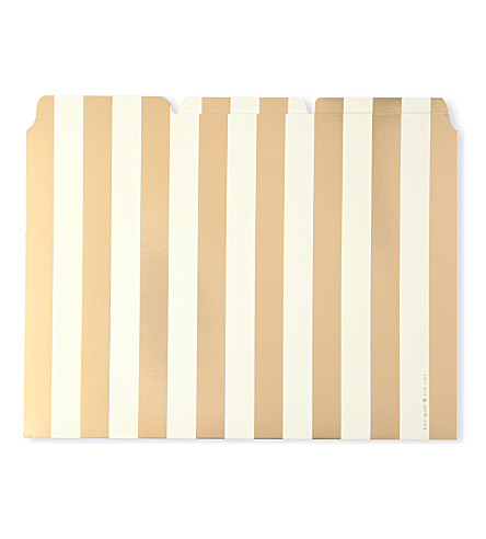 KATE SPADE NEW YORK Gold-toned stripe file folders