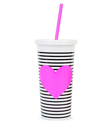 BANDO Striped heart tumbler with straw
