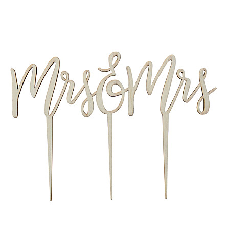 GINGER RAY Mrs & Mrs wooden wedding cake topper