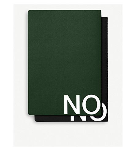 NOMESS MESS study notebooks black and dark green 17.8x25.4cm set of two