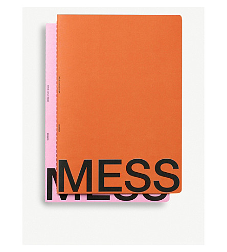 NOMESS MESS study notebooks orange and pink large set of two