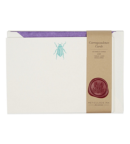 METICULOUS INK Scarab beetle correspondence card set of 10