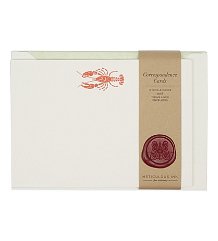 METICULOUS INK Lobster correspondence card set of 10