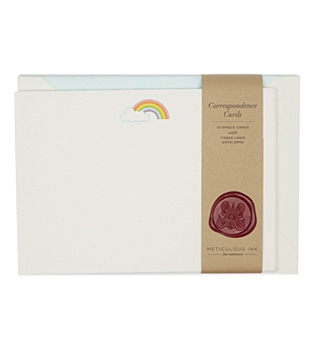 METICULOUS INK Rainbow correspondence card set of 10