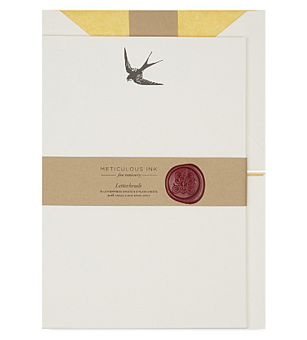 METICULOUS INK Swallow letterheads set of 20