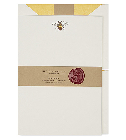 METICULOUS INK Honey bee letterheads set of 20