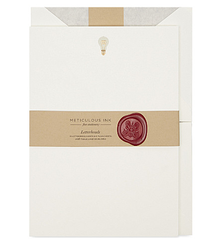 METICULOUS INK Light bulb letterheads set of 20