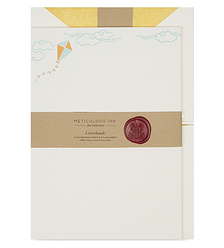 METICULOUS INK Kite letterheads set of 20