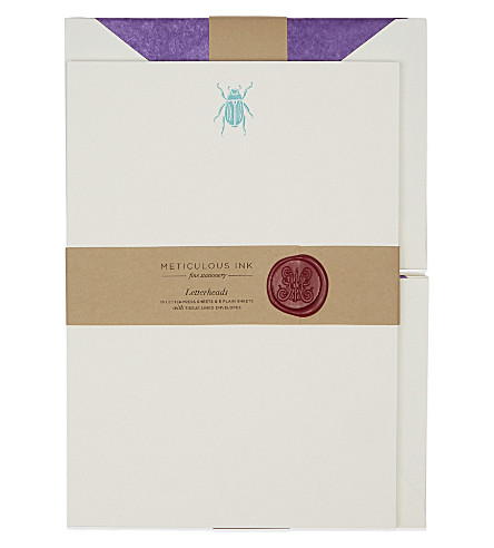 METICULOUS INK Scarab beetle letterheads set of 20