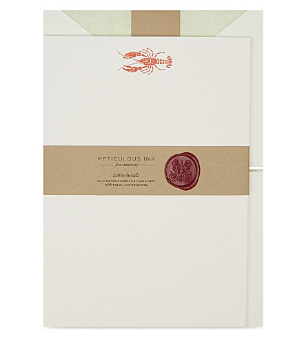 METICULOUS INK Lobster letterheads set of 20