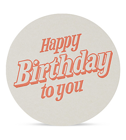 MARBY & ELM Happy birthday to you paper coaster set of 6