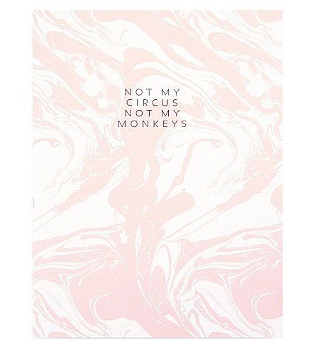 SWEET AND SOUR Not my circus not my monkeys marble print notebook