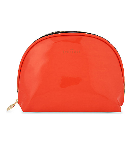 SWEET AND SOUR Neon patent zipped pouch