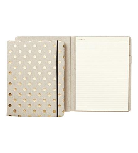KATE SPADE NEW YORK Linen gold polka dot folio notepad