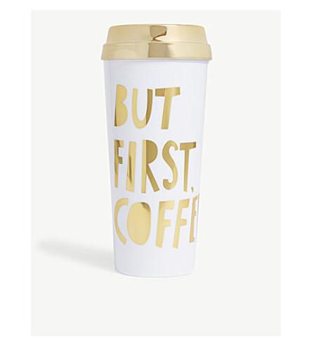 BANDO 'But First Coffee' metallic thermal mug