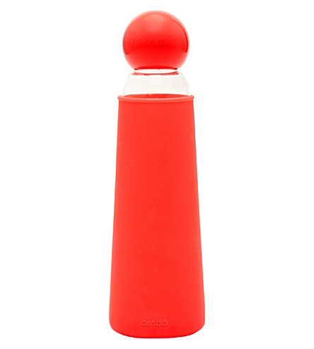 BANDO Cool it red glass water bottle 17oz