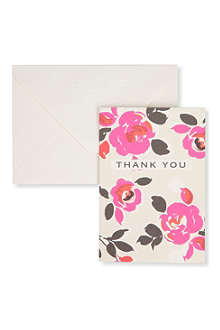 CAROLINE GARDNER Pack of 10 rose thank you cards
