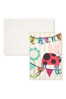 CAROLINE GARDNER Pack of 10 ladybird thank you cards