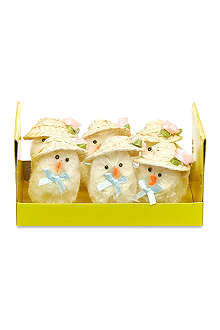 GISELA GRAHAM Box of 6 straw hat chicks